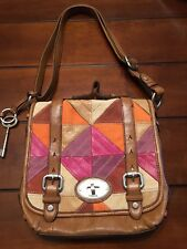 FOSSIL Leather Patchwork Crossbody / Messenger Purse, With Key $228.00 EUC