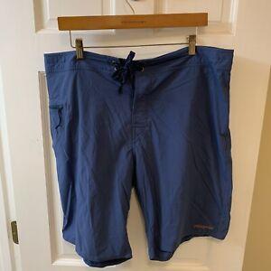 Patagonia Men 38 Board Shorts Drawstring Flat Front Blue Swim Trunks Hiking