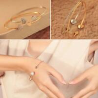 Fashion Style Love Heart Bangle Cuff Bracelet Crystal Rhinestone Jewelry Gift GA