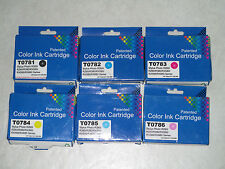 6 Reman' Inks for Epson T078 T0781/82/83/84/85/86 CYMK Lite Mag/Cyan.Exp: 2013