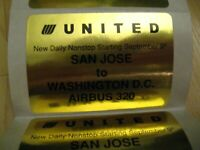 United Airlines Stickers - Vintage 1990's San Jose Washington DC Airbus 320 (6)
