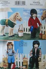 "Vogue 7729 18"" Girl Doll Pattern Horse Western Wear Toy  by Linda Carr - Uncut"