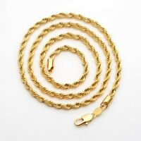 """Men's/Women's Rope Chain Necklace 18k Yellow Gold Filled 24""""Link Fashion Jewelry"""