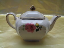 GENUINE SADLER PINK & YELLOW ROSE CUBE TEA POT EXCELLENT CONDITION