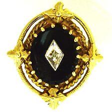 ESTATE DIAMOND & BLACK ONYX RING 14K YELLOW GOLD NATURAL VINTAGE ENGAGEMENT