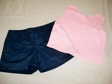 Set Womens Sz 6 GAP Navy Shorts and Small Express Tricot Cropped Top Light Coral
