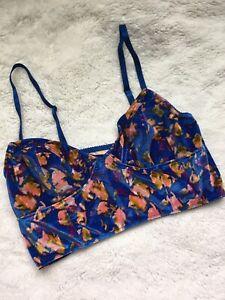 Free People Blue Floral Print Velvet Bralette (L)