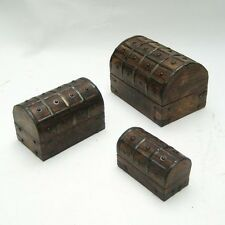 PIRATE CHEST WOODEN IRON STRAPS ~ PIRATE CHEST ~ NAUTICAL ~ TREASURE CHEST