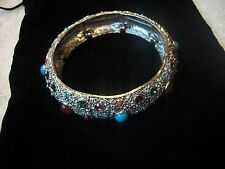 R J GRAZIANO Bracelet STUNNING Stretch Bangle Faux Turquoise/Amber Cab Stones