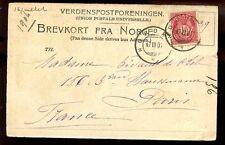 Norway 1904 u/b PPC Nordkap + Nordkap postmarks to Paris
