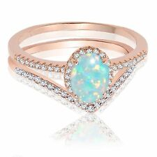 18k Rose Gold Oval Turquoise Opal Engagement Wedding Sterling Silver Ring Set
