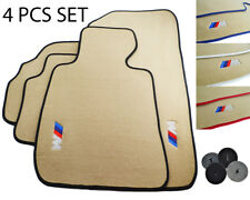 Beige Floor Mats For BMW M Emblem Leather Rounds LHD Vehicle Carpets 1990-2018