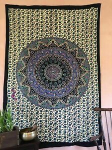 QUEEN BIEGE FLORAL MANDALA TAPESTRY ETHNIC COTTON HOME DECOR THROW WALL HANGING