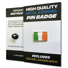 Ireland Flag High Quality Metal & Enamel Pin Badge with Secure Locking Back