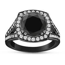 4.18 CARAT HUGE ENHANCED FANCY BLACK DIAMOND ENGAGEMENT RING 14K BLACK GOLD