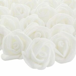 200-Pack 1-Inch White Rose Flower Heads for DIY Crafts, Weddings, Decor