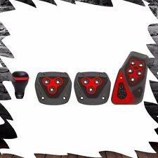 4 PC Racing Red Shifter Pedal Set Combo Kit For Manual Stick Shift Transmission