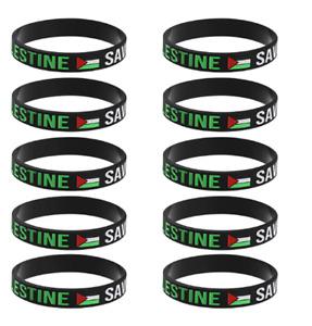 Lot (10)Pcs Unisex Free PALESTINE Save Gaza Fashion Wristband Silicone Bracelets