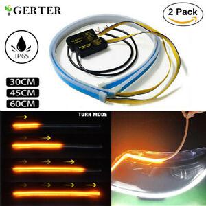 2X LED Blinker Dynamische Streifen Auto DRL Scheinwerfer Tagfahrlicht Lampe DHL
