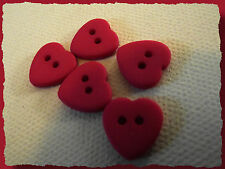 5 BOUTONS COEUR Rose fuschia 12 mm 1,2 cm  2 trous Pink heart Button sewing lot