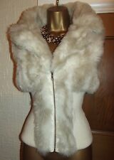 GORGEOUS ❤️ JANE NORMAN FAUX FUR RIBBED CARDIGAN/ GILET / JACKET SIZE 8