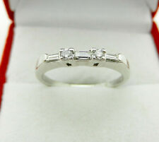 14K White Gold Natural Baguette and Round Diamond Anniversary Wedding Band