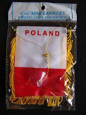 "New Poland Flag Mini Banner 4"" x 6"" w/ Suction Car Window Red White w/ Gold Trim"