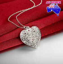 Wholesale 925 Sterling Silver Filled Retro Hollow Love Heart Pendant Necklace