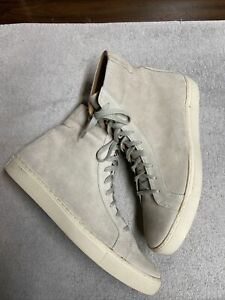 T C G Mens Ivory Beige Suede Leather Lace Up Fashion Hightop Sneaker Sz 46 US 12