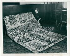 Rug Made by Queen Mary of England 1950 Original News Service Photo