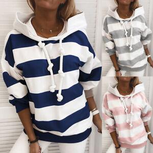 Womens Long Sleeve Striped Hoodie Sweatshirt Ladies Hooded Jumper Pullover Tops