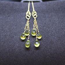 Long Natural Peridot Earrings 14K Yellow Gold Vermeil  Filigree Design August