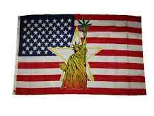 3x5 USA U.S.A. Statue of Liberty Weed Leaf Flag 3'x5' Banner Brass Grommets