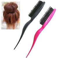 Hair Brush Boar Bristle Beard Comb Detangling Straightening Slim Line Teasing