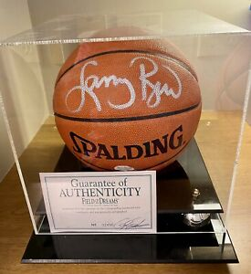 Larry Bird Signed Spalding Official NBA Basketball w/Display Case & Certificate