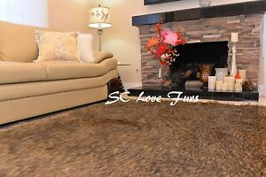 3' x 5'  Black Tip Coyote Wolf Faux Fur Rectangle Area Rug PlushFurEver