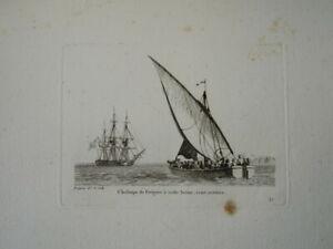BELLE GRAVURE PAYSAGE MARINE BATEAU VOILIER VAISSEAU CHALOUPE FREGATE  1810