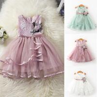 US Toddler Baby Girl Flower Clothes Princess Lace Tutu Dress Birthday Sundress