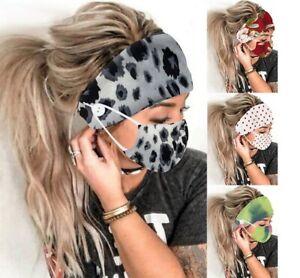 2 PCs Face Mask Covering Earmuff Headband Fashion Scarf Flower Print Washable