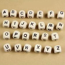 50Pcs Natural Wooden Alphabet Letter DIY Cube Beads 10mm Kids Development Toys