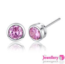 925 Sterling Silver Stud Enclosed Round Pink Crystal Earrings Jewellery Womens