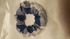 HOMEMADE SCRUNCHIE plaid blue white gold 8 inch elastic NEW hair tie cotton USA