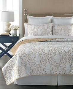 Martha Stewart Collection 100% Cotton Chateau Quilt - FULL / QUEEN - Neutral
