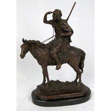 Man On Horse Bronze Sculpture On Marble Base.Heavy.Impressive.NEW.