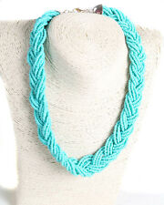 African Handmade Turquoise/Green Interwoven Bead Necklace
