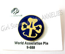 WAGGGS PIN on Card, Girl Scouts Guides, World Association ENAMEL Clutch-Back