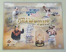 0728-23 1983 WSC Orioles Team Signed 16x20 Photo 18 AUTO 's Palmer HOF LEAF COA