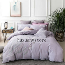 Luxury 100% Cotton Flower Butterfly Texture Bedding Set Embroidery Duvet Cover
