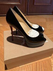 Christian Louboutin Black Fatish Peep  Toe 130 Patent  Size 40 BRAND NEW!!!!