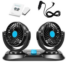 12V Mini Car Cooling Fan 360 Degree Rotating Dual Head Adjustable Speeds Car Fan